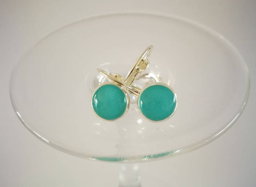 Aqua Sterling Silver Earrings - 30