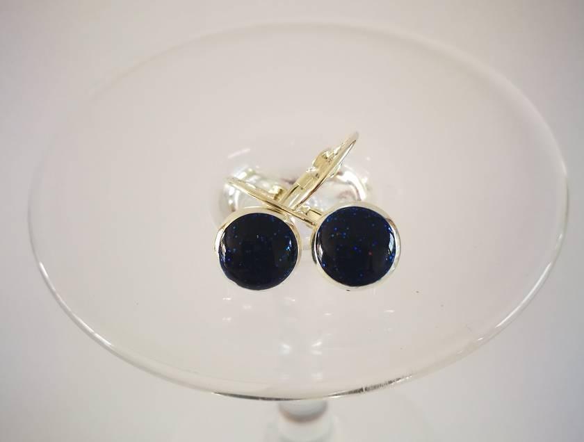Royal Blue Shimmery Sterling Silver Earrings - 32