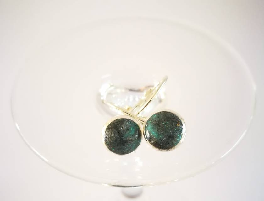 Silver and Aqua Shimmery Sterling Silver Earrings - 33