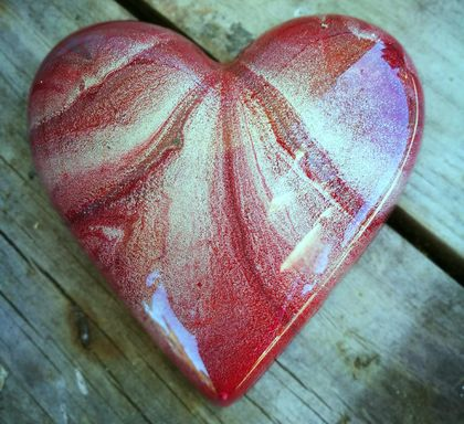 Unique Abstract Resin Heart Red & Silver