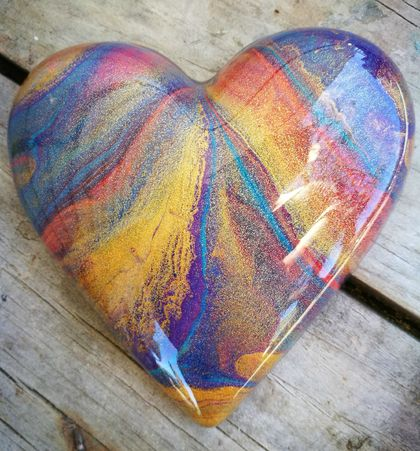 Unique Abstract Resin Heart Rainbow