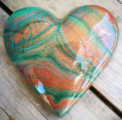 Unique Abstract Resin Heart Copper Metallic & Green