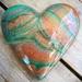 Unique Abstract Resin Heart Copper Metallic & Green
