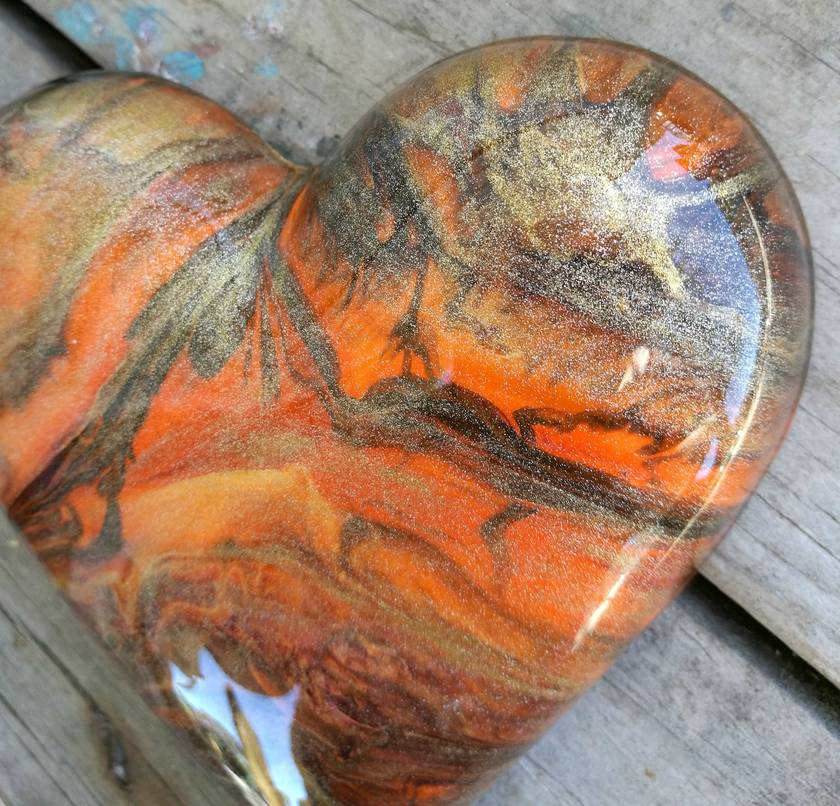 Unique Abstract Resin Heart Orange, Chocolate & Gold