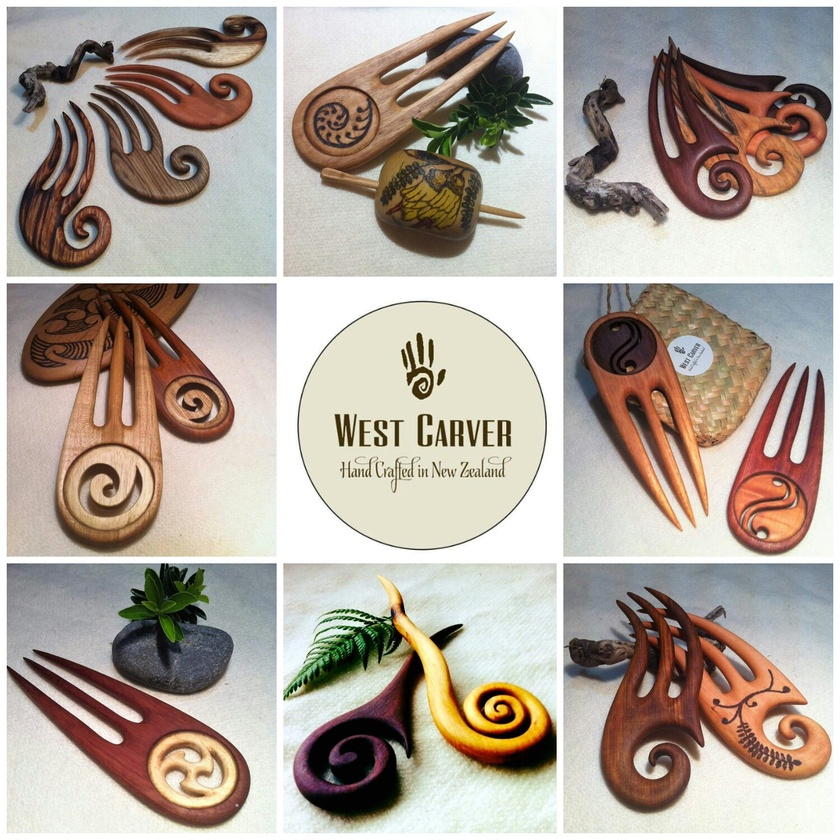 Wooden Hair Fork - intl koru Design