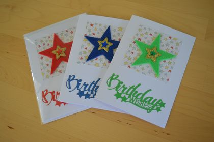 Handmade Star theme Birthday Card