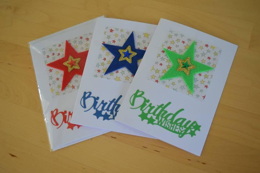 Handmade Star theme Birthday Card