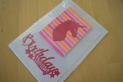 Fluorescent coloured pink and orange unicorn design 'Birthday Wishes' card