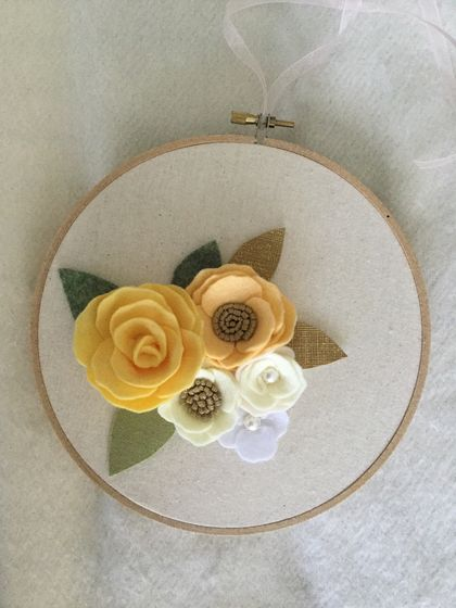 Flower hoop wall decor