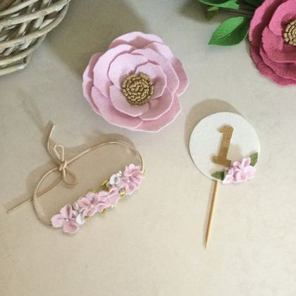 Cake topper with matching headband