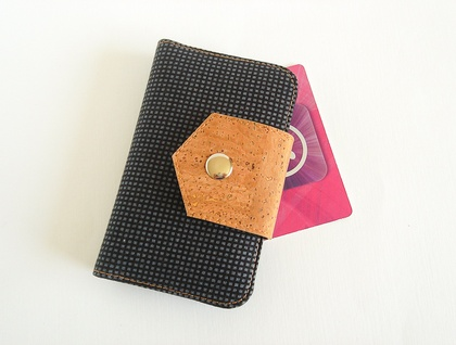 Small Card Wallet in Black with Cork Fabric Closure