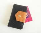 Small Card Holder Wallet in Black with Cork Fabric Closure