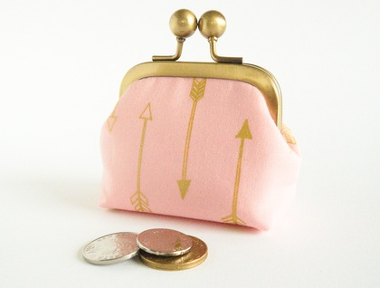Pink Coin Purse in Gold Metallic Arrows