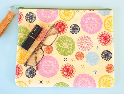 Large Zipper Pouch in Colourful Doilies Design