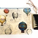 Large Zipper Pouch in Hot Air Balloons on Light Cream