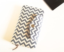 Passport Holder, Wallet To Fit Up to 4 Passports in Grey/Off White Chevron