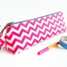 Pink Chevron Pencil Case, Zipper Pouch