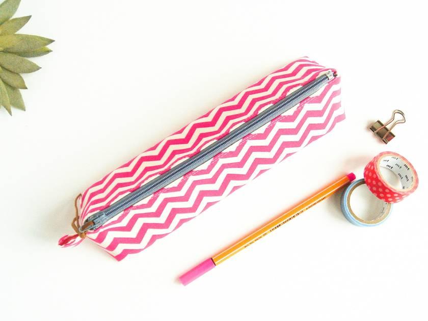 Pink Chevron Pencil Case, Zipper Pouch