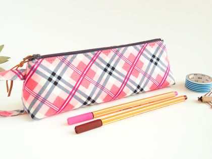 Pink and Grey Plaid  Pencil Case, Zipper Pouch, Accessory Storage
