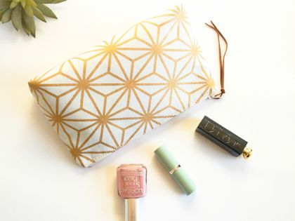 Geometric Star Print Makeup Bag, Cosmetic Case, Toiletry Bag, Zipper Bag, Pouch in Gold and Cream