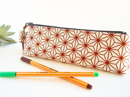 Japanese Star Pattern Pencil Case, Zipper Pouch, Accessory Storage