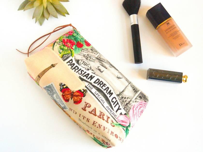 Parisian Theme Makeup Bag, Cosmetic Case, Toiletry Bag