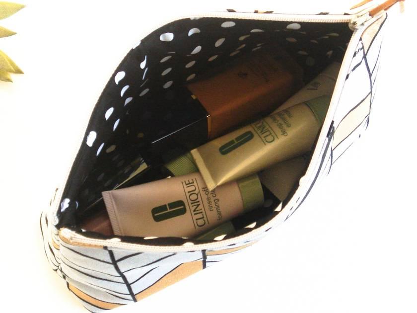 Grey Geometric Stripes Makeup Bag, Cosmetic Case, Toiletry Bag or Zipper Bag
