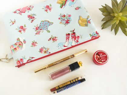 Zipper Pouch, Makeup or Cosmetic Bag in Gumboots Print