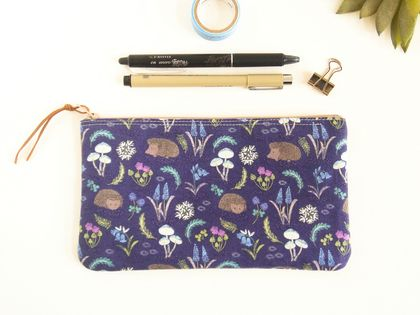 Hedgehog Pencil Case, Woodland Themed Zipper Pouch, Accessory Storage