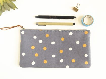Gold and White Polka Dot Pencil Case, Zipper Pouch, Makeup Bag, Accessory Storage