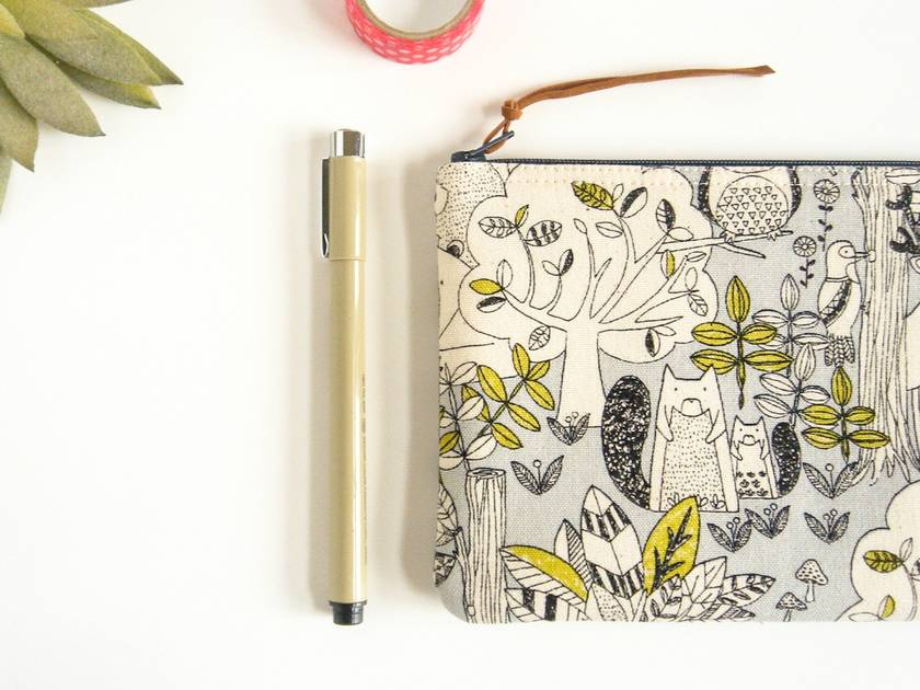 Woodland Animals Pencil Case, Zipper Pouch, Makeup Brush Holder, Accessory Storage