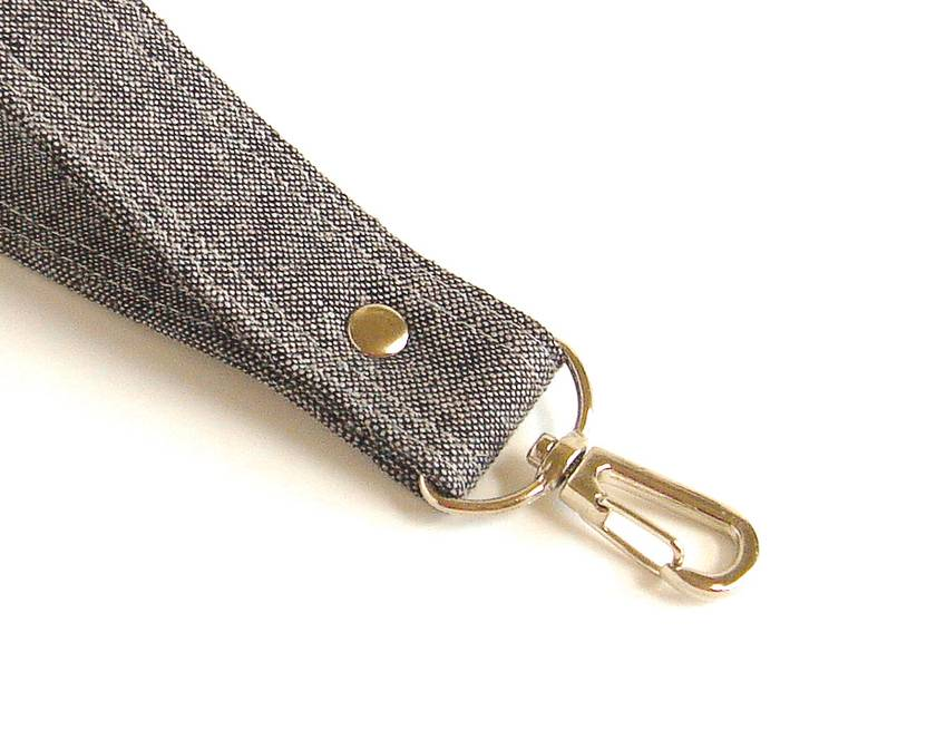 Gray Linen Keychain, Keyring or Strap with Swivel Hook