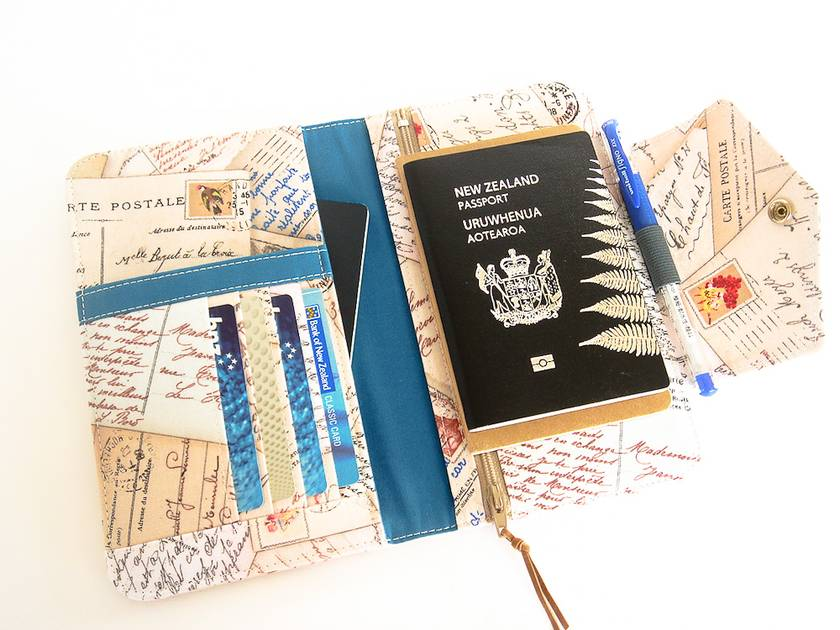 Passport Holder, Wallet To Fit Up to 4 Passports, Postcards from Paris design