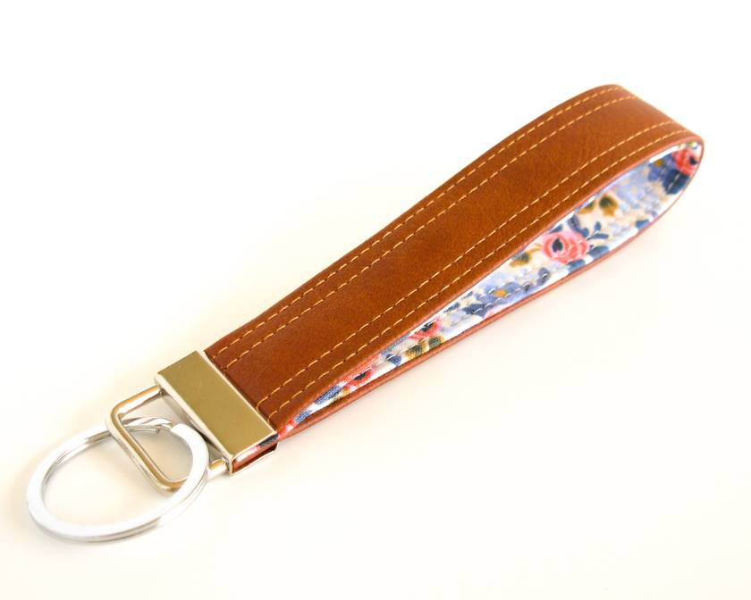 Vegan Leather and Floral Fabric Keychain, Faux Leather Keyring