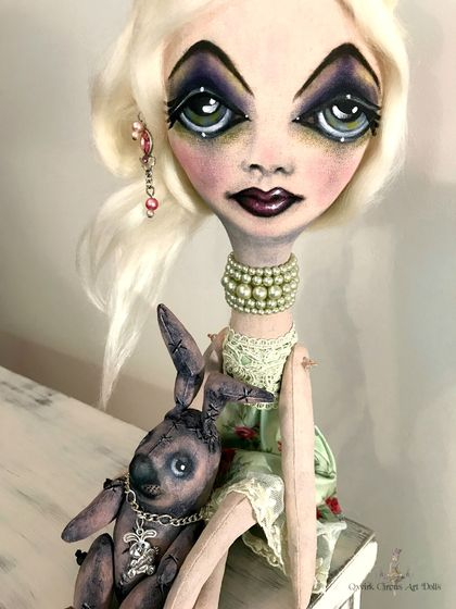 "❣️MADDY 30cm (12"") and STAN RABBIT 12cm (5"")❣️ OOAK, Cloth Art Doll,  Big Eyes, Green Summer Dress, Besties"