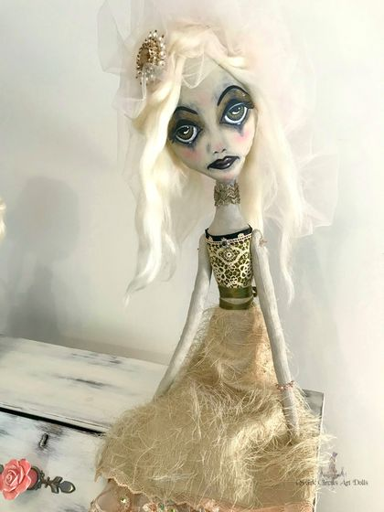 "❣️BASILEA ❣️Large 75cm (30"") Vintage Bride, Cloth Art Doll, Ooak, Sad Eyes, Lace, Beige, Gold, Olive Green"