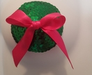 Sparkly green nipple covers with pink bow