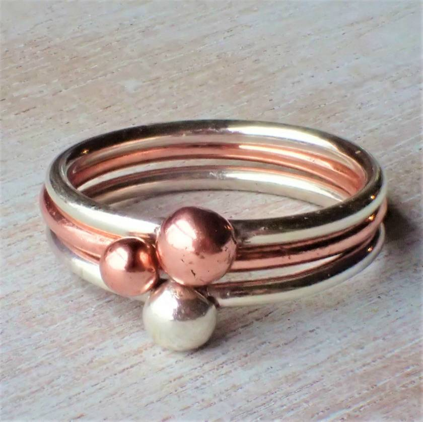 Silver and Copper Bobble Stack Ring.