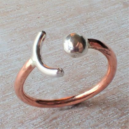 Silver and Copper Crescent Ring.