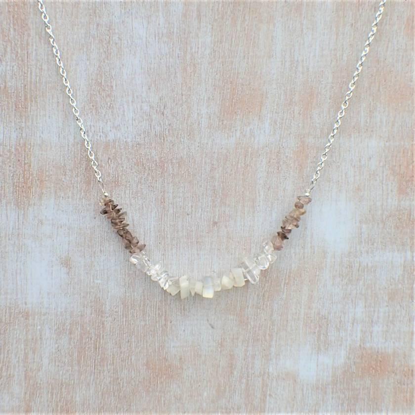 Smokey Quartz, Quartz and Moonstone Necklace