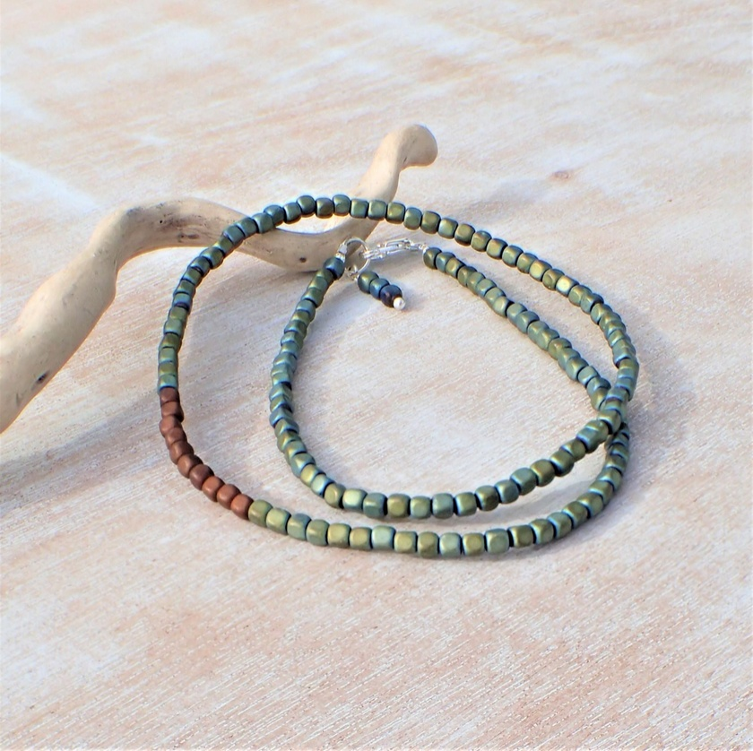 Green Square Bead Necklace