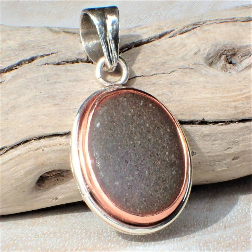 Silver and Copper Beach Stone Pendant
