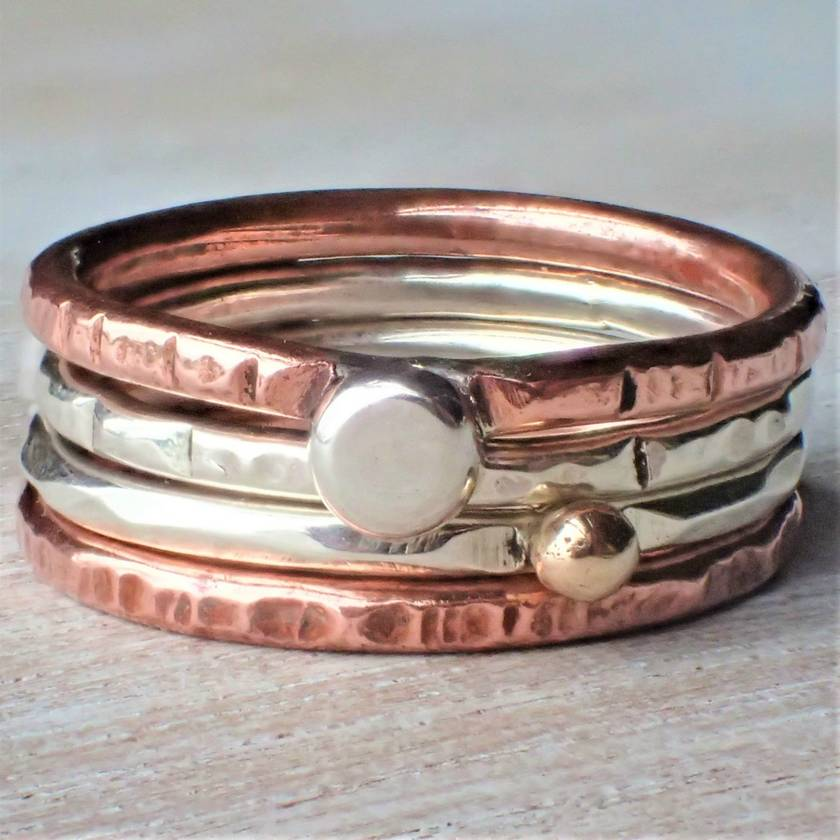 Silver, Copper and Gold Stack Ring.