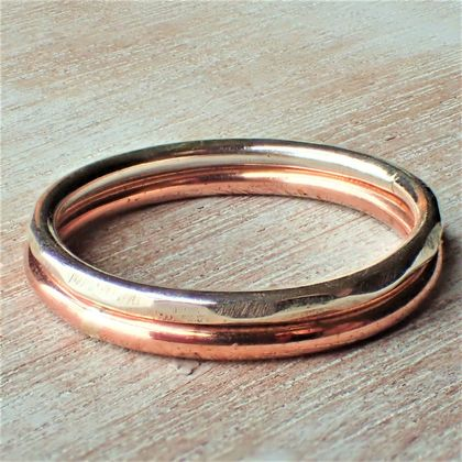 Silver and Copper Stack Ring.
