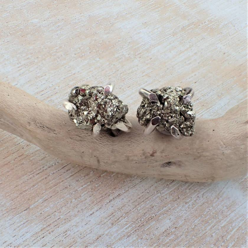 Pyrite and Sterling Silver Studs