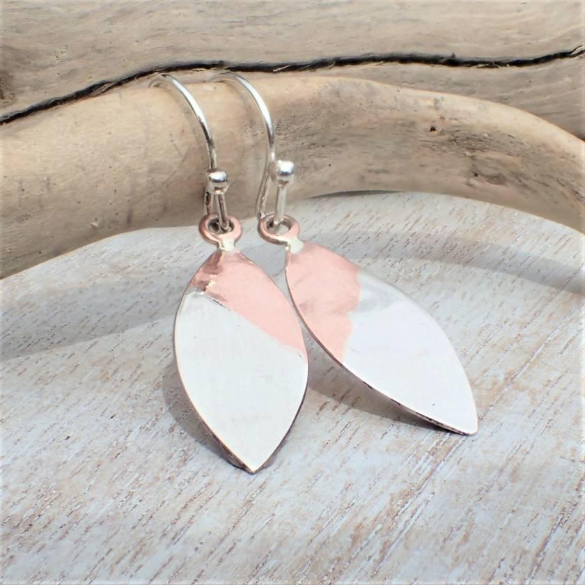 Flower Petal Silver and Copper Earrings.
