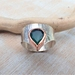 Green Agate Silver and Copper Ring