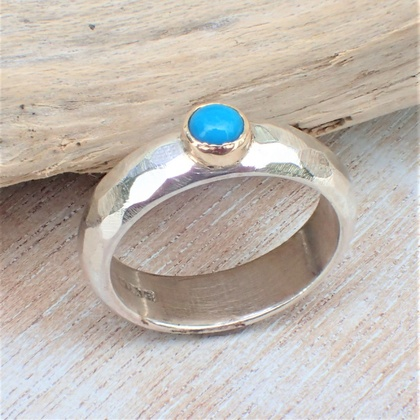 Turquoise Silver and 9ct Gold Ring
