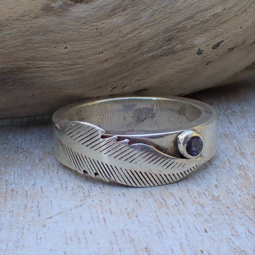 Feather and Iolite (Water Sapphire) Ring.