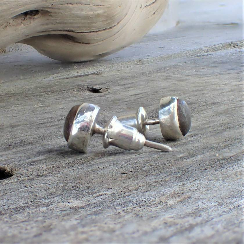 Silver and Beach Stone Studs